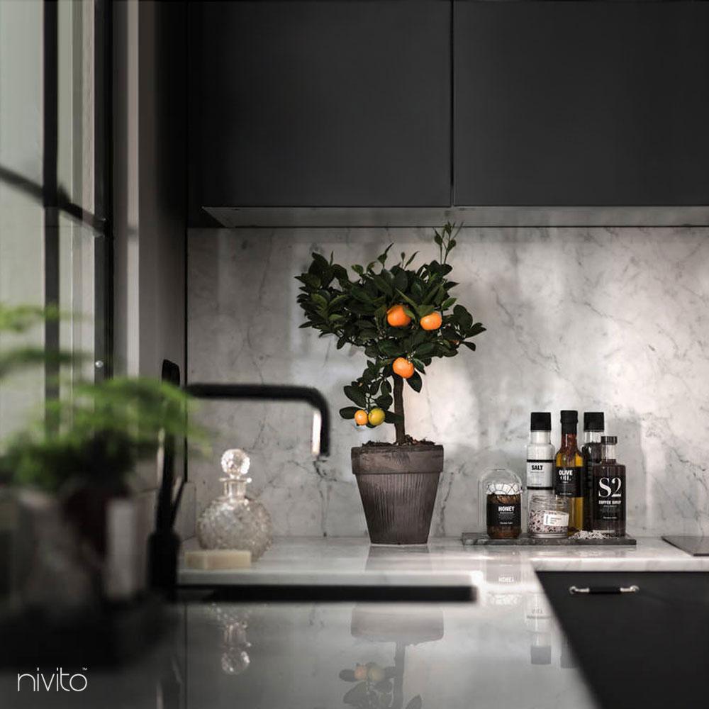 Siyah mutfak su musluk